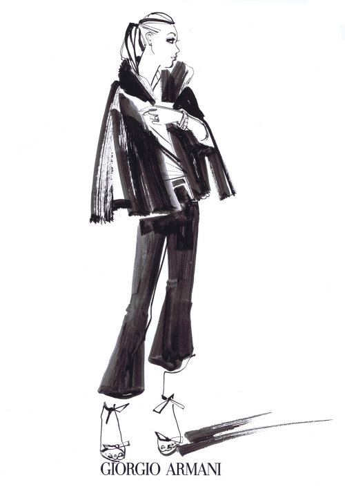 Fashion Model Line Sketch For Giorgio Armani
