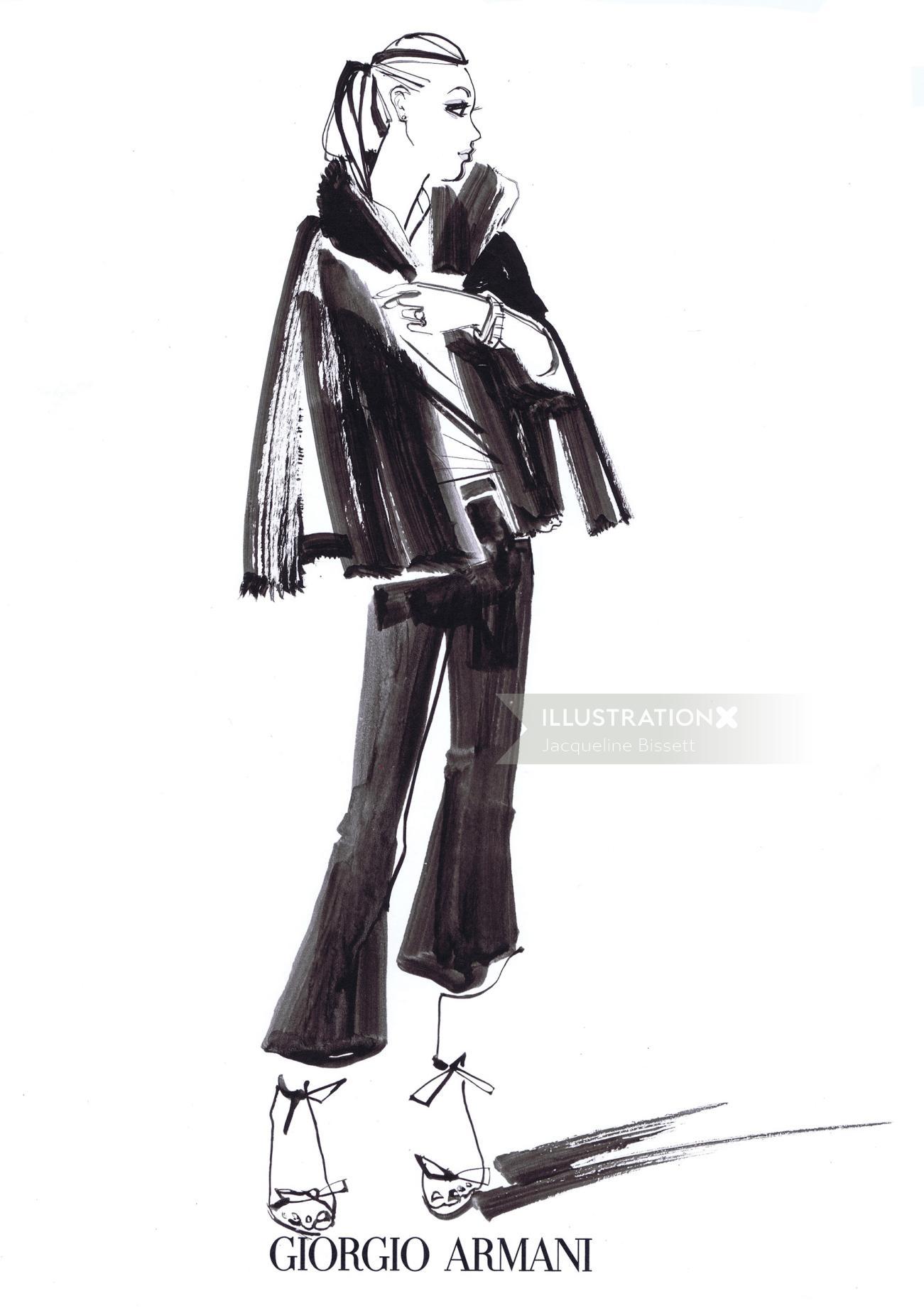 Fashion Model Line Sketch For Giorgio Armani