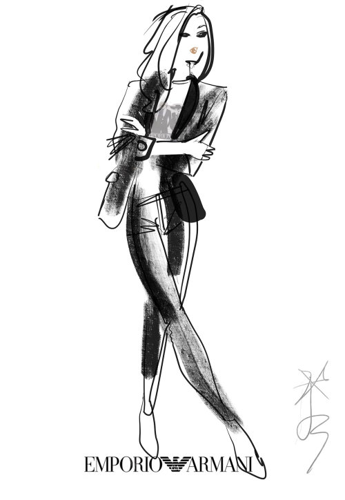 Live Fashion Illustration For Emporio Armani