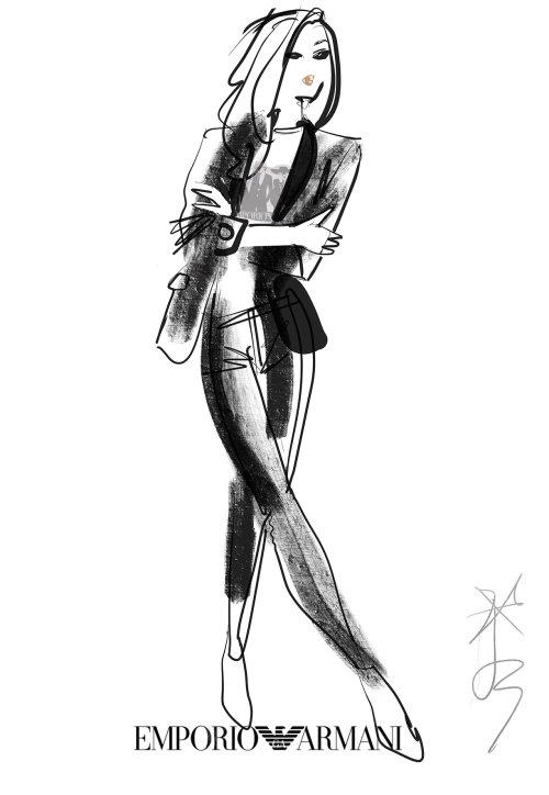 Illustration de mode en direct pour Emporio Armani