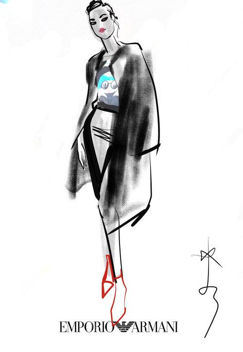 Illustration de la belle dame pour le magazine Marie Claire