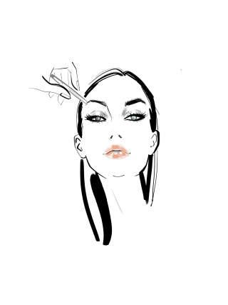 Woman applying eyebrow makeup illustration