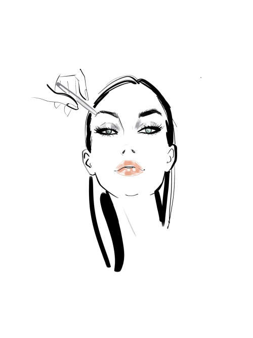 Woman applying eyebrow makeup illustration