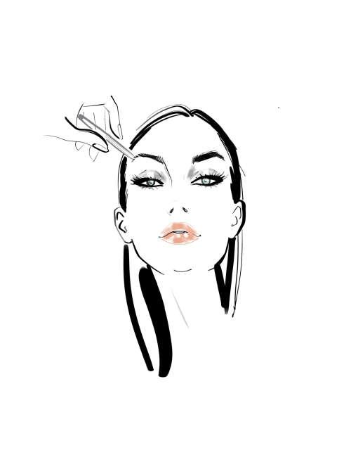 Femme appliquant l'illustration de maquillage des sourcils