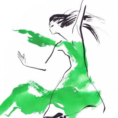 Watercolour line art of a woman dancing