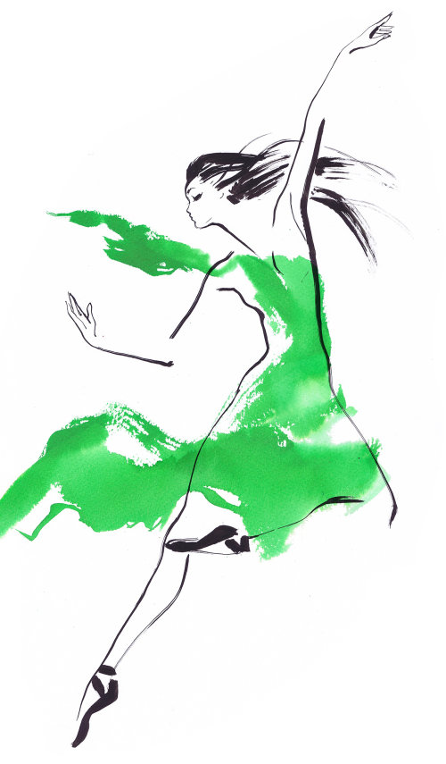 Watercolour line art of a woman dancing