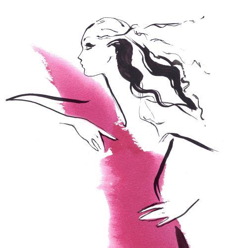 Fashion woman line art