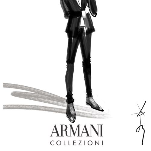Menswear Digital Sketch For Armani Collezioni