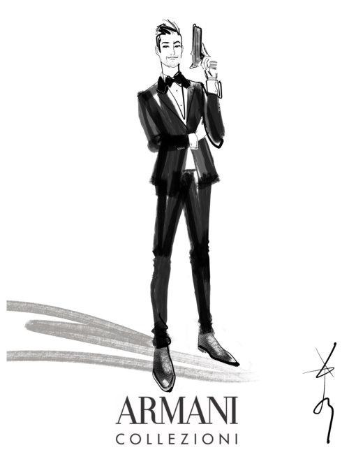 Croquis numérique pour homme pour Armani Collezioni