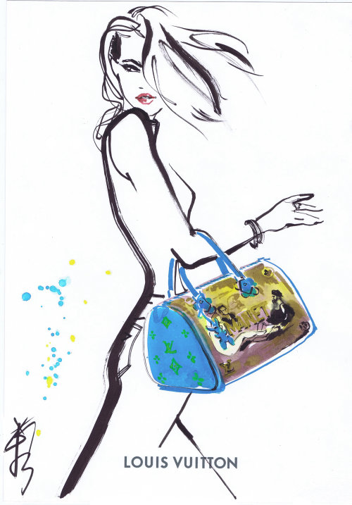 Line drawing of a lady with handbag