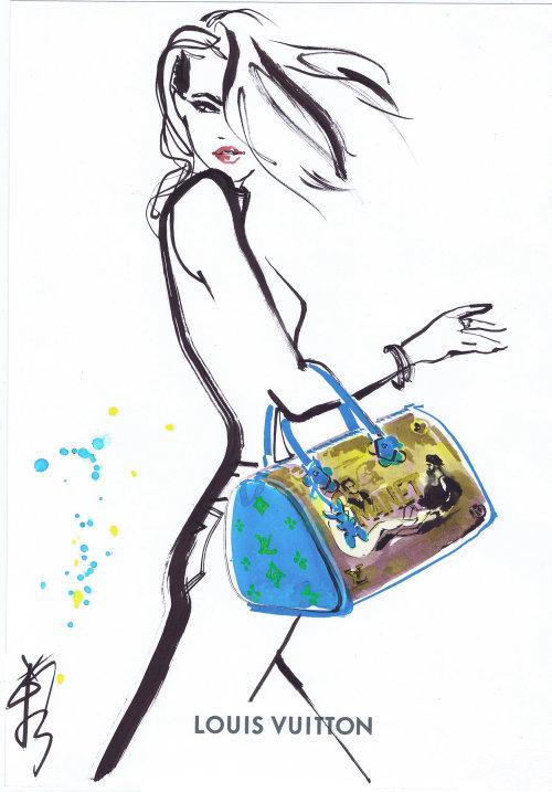 Dessin au trait d'une dame avec sac à main