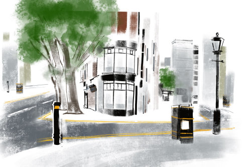 Croquis aquarelle de scène de rue