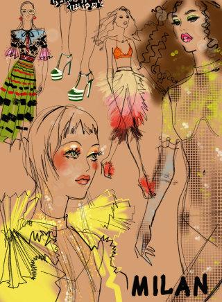 Women catwalk at  Milan Fashion Week