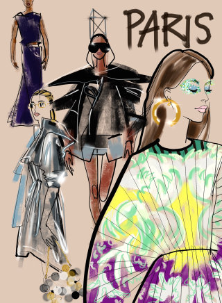 Stylish Fashion collection for girls- Paris sketch