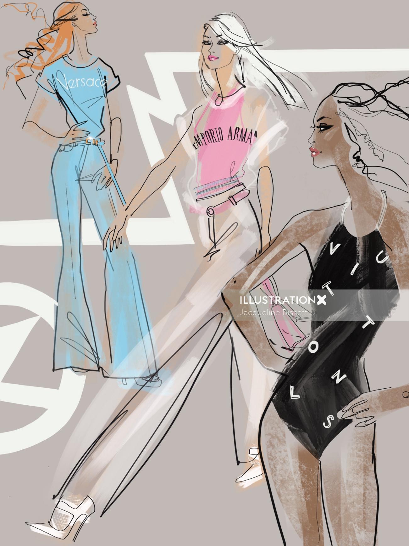 illustraion of fashion girls