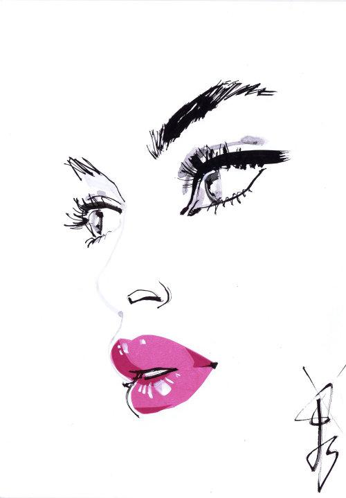 Dessin au trait - Yeux noirs et lèvres roses