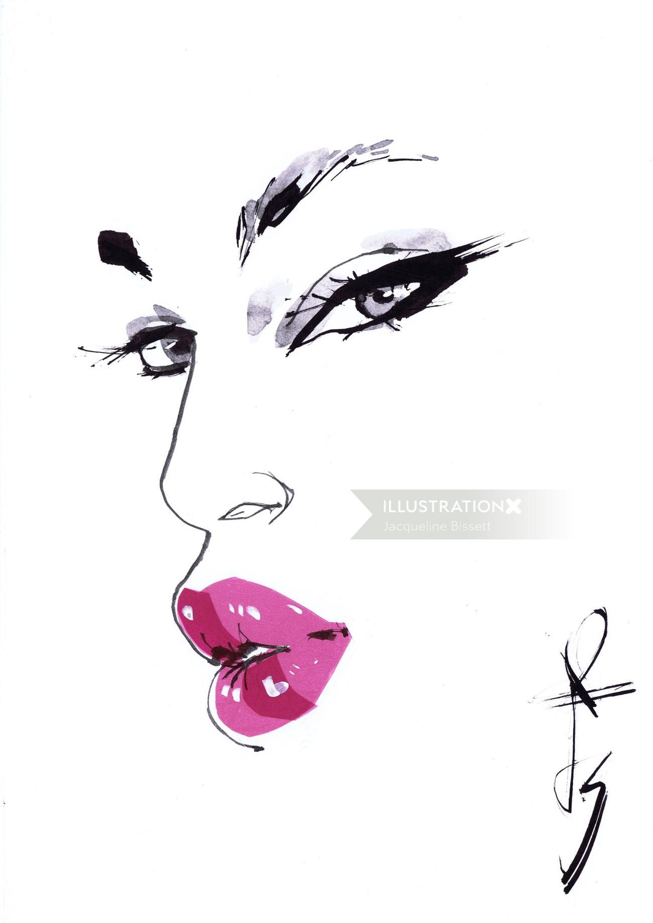 Beautiful sketch of pink lips & black eyes