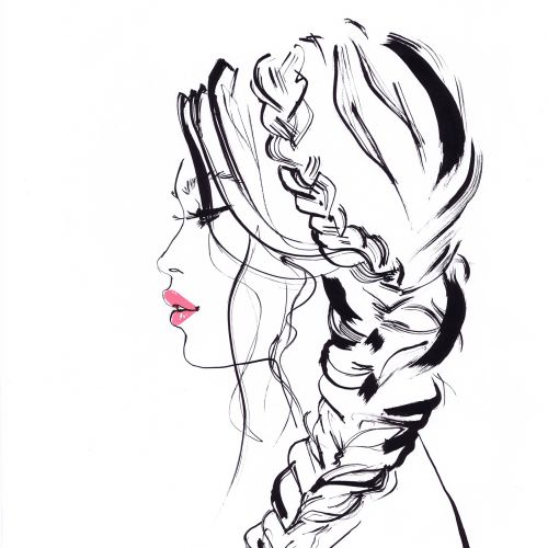 A Fishtail Hairstyle girl-  Line drawing