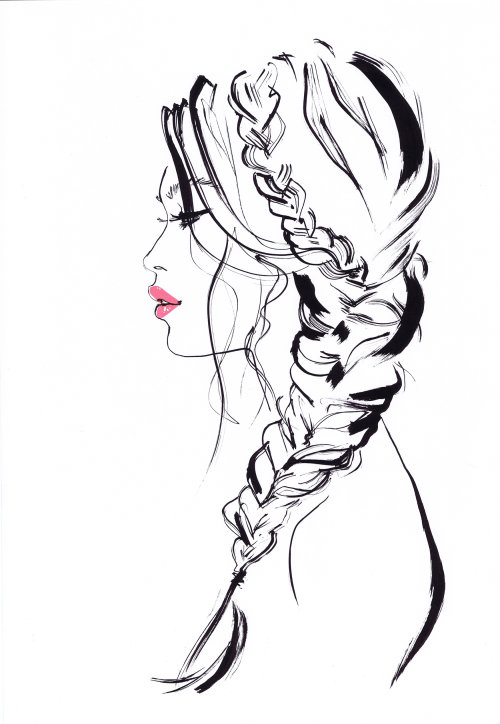 Fishtail Hairstyle girl fashion illustration