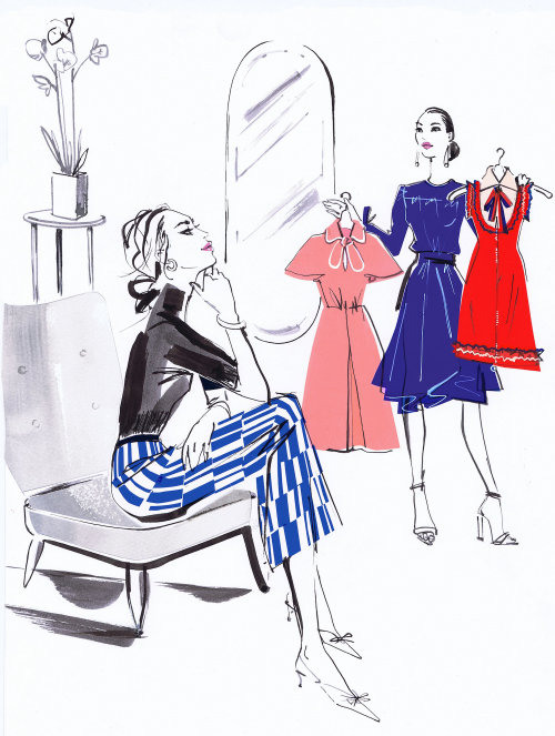 drawing of fashion beauty in boutique
