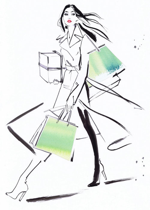 Drawing of woman walking with shopping bags Drawing of woman walking with shopping bags