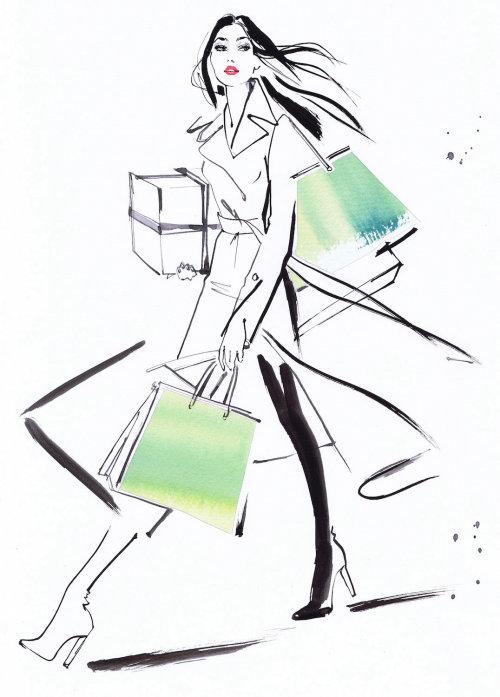 Dessin de femme qui marche avec des sacs à provisions Dessin de femme qui marche avec des sacs à provisions