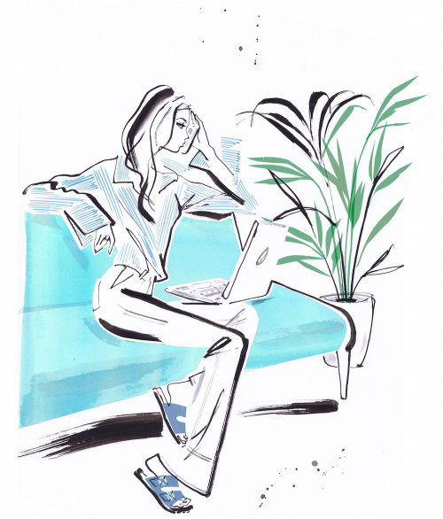 drawing of woman with laptop