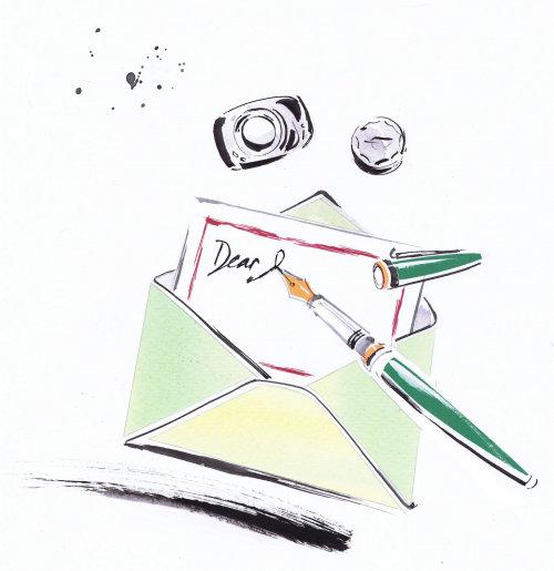 Dessin de lettrage de courrier postal