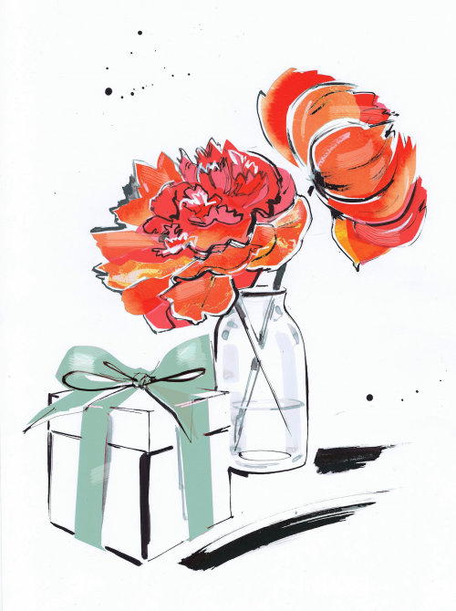 Line drawing flowers and gift box