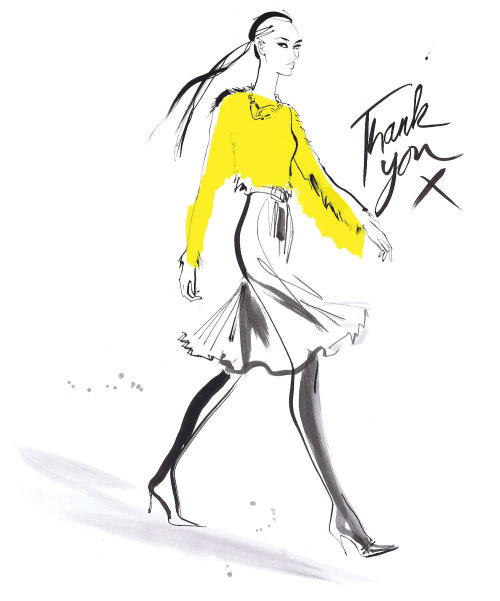 Line drawing of woman with yellow dress