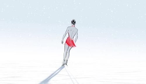 Ice skating animation of Happy new year