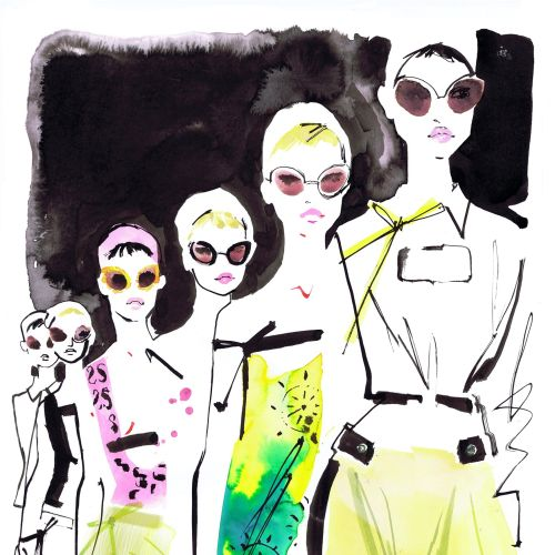 fashion divas line and ink illustration