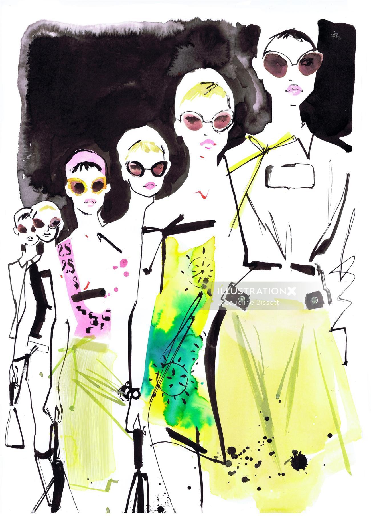fashion divas line and ink illustration