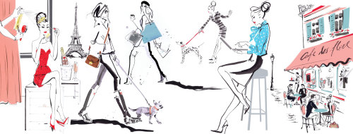 Drawing of woman models