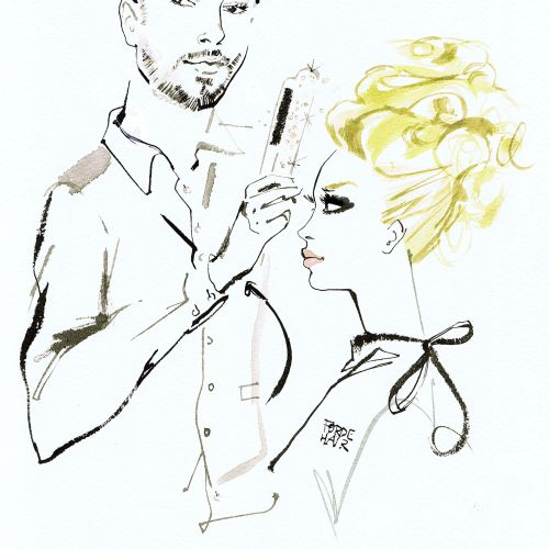 hairdresser Gary Forde watercolor illustration