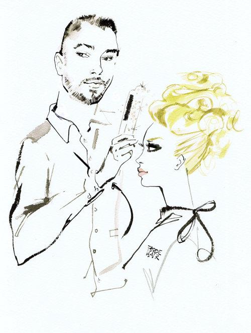 hairdresser Gary Forde watercolor illustration