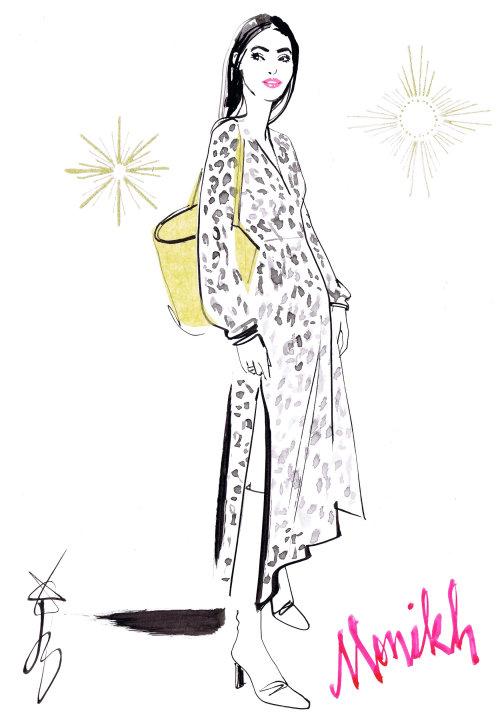 robe à motif de mode monikh