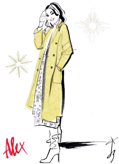 Illustration de mode long manteau jaune