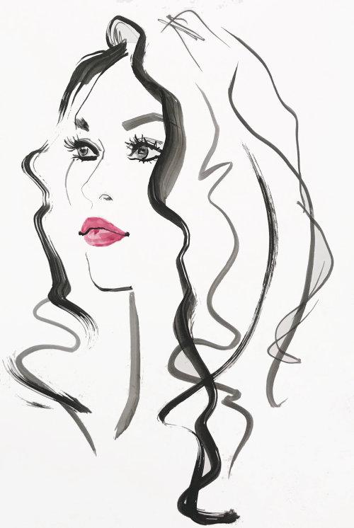 woman line portraiture