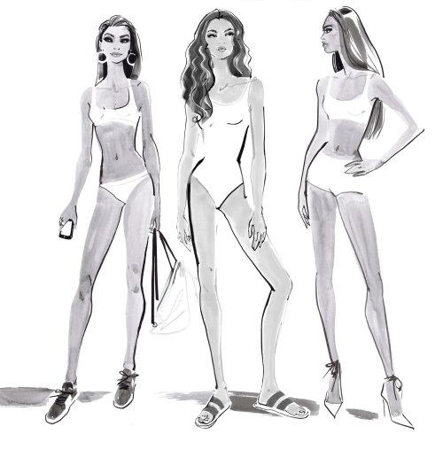 Modèle de bikini dans l'équipe de conception Tommy Hilfiger 2018