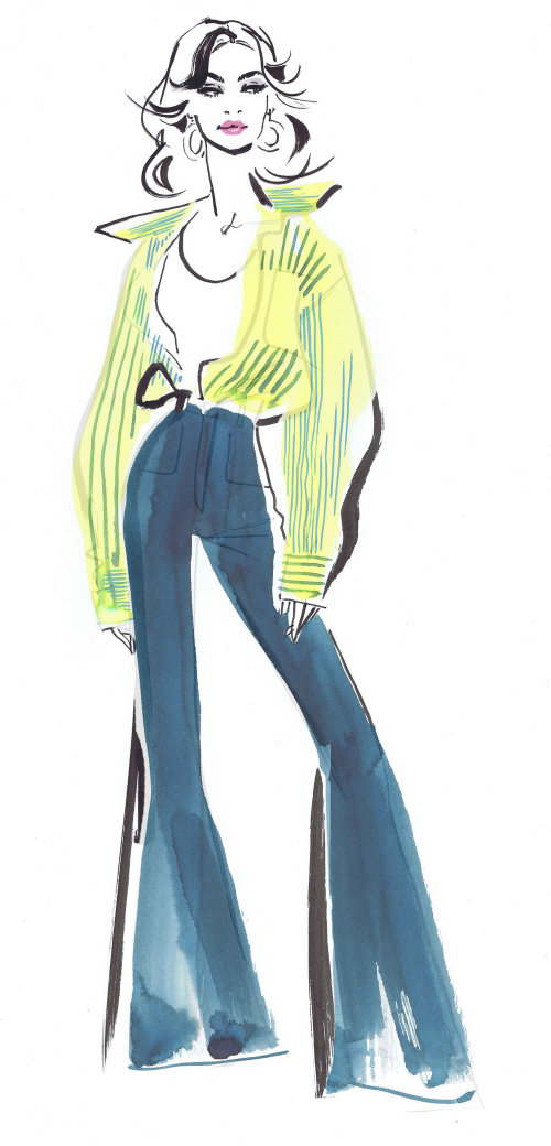 fashionable woman ink and brush made illustration