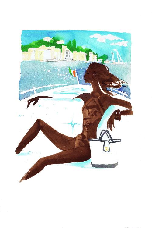 editorial illustration for travel article on Portofino