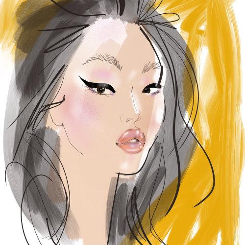 Fashion model drawing using iPad procreate