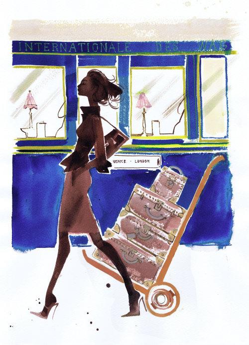 Traveling fashion illustration of women