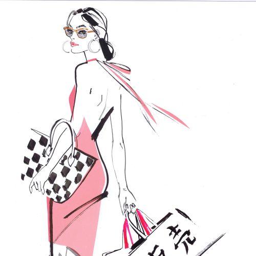 Jacqueline Bissett Internationaler Modeillustrator. Vereinigtes Königreich