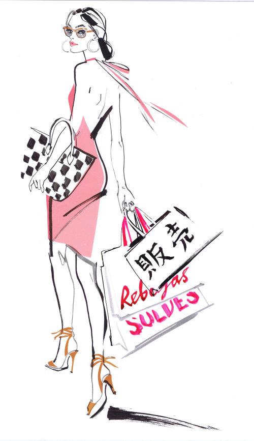 illustration de mode femme faite avec encre et pinceau