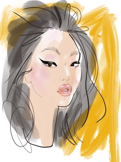 girl portrait using ipad procreate