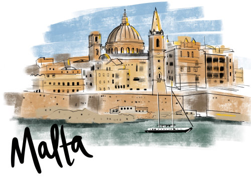 Dessin de la ville de Malte