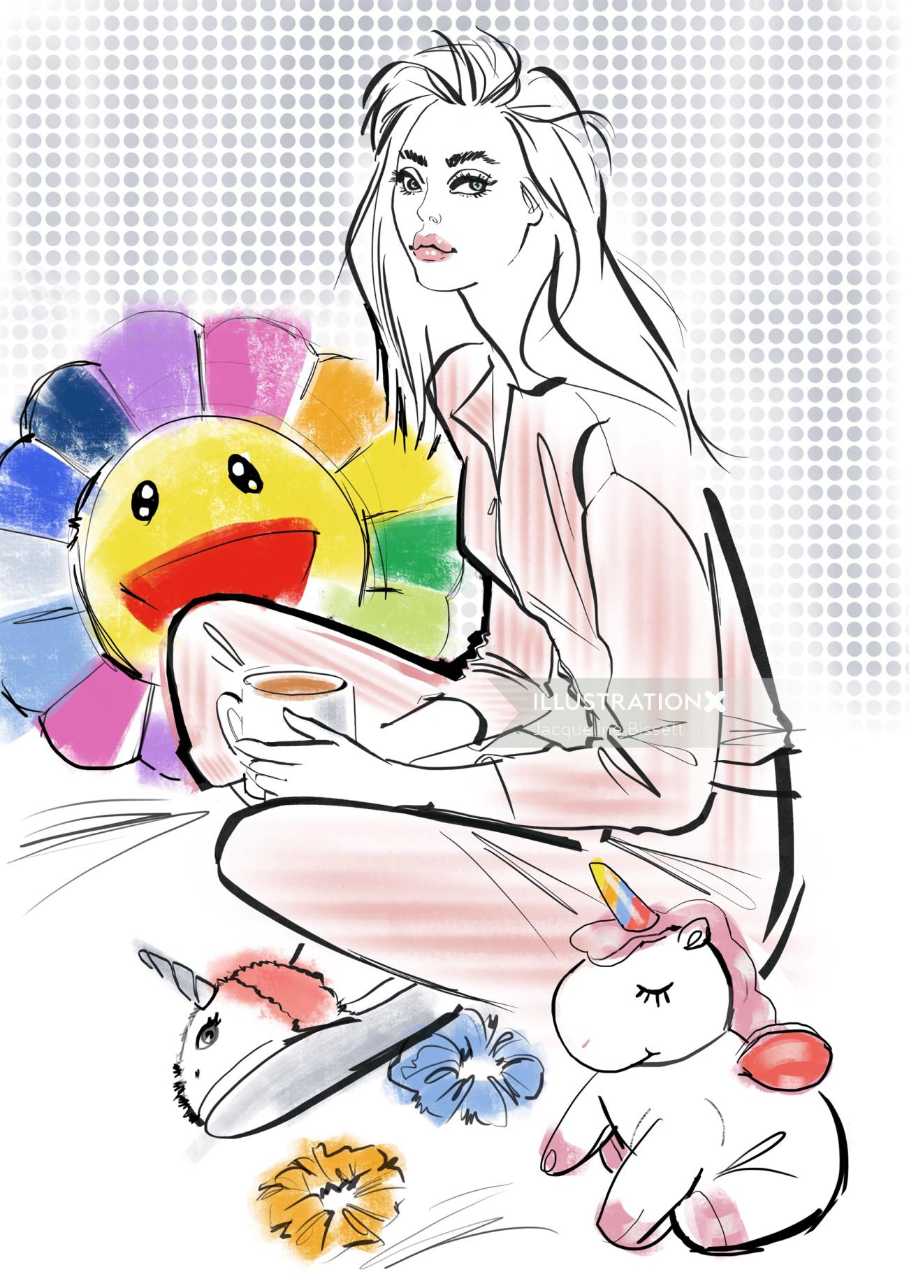 A girl sitting with toys illustrated with ink and brushstroke