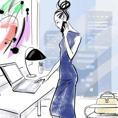 watercolor illustration of stylish woman talking on phone